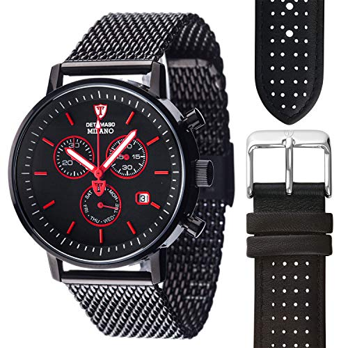 DETOMASO Milano Herren-Armbanduhr Chronograph Analog Quarz schwarzes Edelstahl Milanaise-Armband schwarzes Zifferblatt + 1 schwarzes Lederarmband