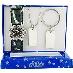 Relda Boys-Kids Khaki Camouflage Watch, Dog Tag Pendant & Keyring Gift Set REL51