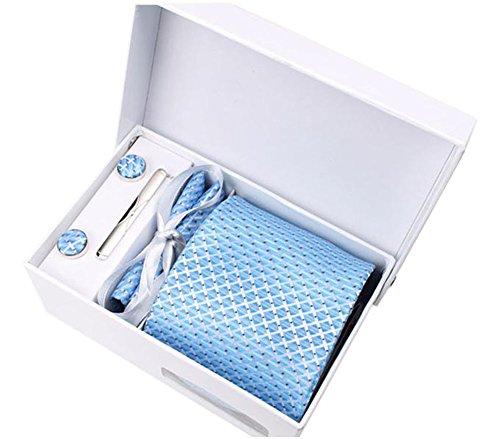 Ensemble pour hommes Cravate, Mouchoir de poche, epingle et boutons de manchette, Coffret Cadeau motif bleu clair