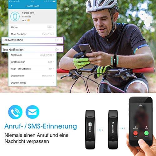 Fitness Tracker, Mpow IP68 Wasserdichte Smart Fitness Armbänder mit Pulsmesser, OLED Bildschirm Herzfrequenz Monitor Schwimmsportuhr Aktivitätstracker Podometer für Android iOS Smartphones z.B. iPhone 7/7 Plus/6S/6/5/5S, Samsung S8/S7, Huawei, LG, Sony, schwarz - 5