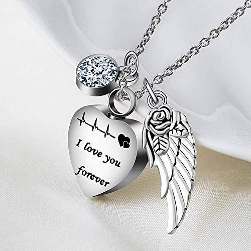 Collar de urna de cremación para mujer, con colgante de ala de ángel para cenizas, viene con embudo