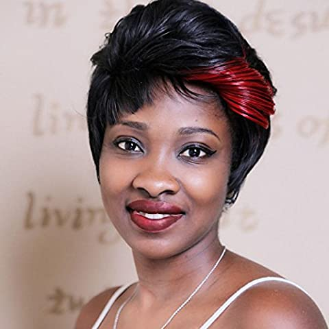 SHKY Black Mix vin rouge mode court cheveux droit lacets perruques avant perruques pour les femmes noires cheveux humains , picture