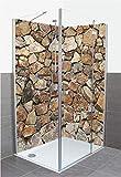 Artland Qualität I Duschrückwand Fliesenersatz Bad Duschwand Motiv Architektur Architektonische Elemente Foto Creme A7MR Braune Steinwand