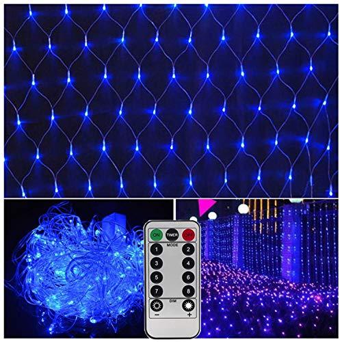 Netz-Lichterkette für den Außenbereich, mit Fernbedienung, 24,8 x 18,8 cm, 200 LEDs Art Deco blau