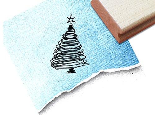 Stempel - x17 02 - Weihnachtsstempel - Weihnachtsbaum mit Stern - Doodle Linework - vielseitig einsetzbar - super für Geschenkanhänger - zAcheR-fineT