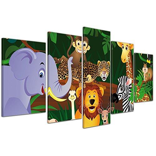 (Kunstdruck - Kinderbild Wilde Tiere im Dschungel Cartoon - Bild auf Leinwand - 100x50 cm 5 teilig - Leinwandbilder - Kinder - Regenwald - Urwald - abenteuerlich)