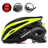 KING BIKE Erwachsene Fahrradhelm für Herren Damen Frauen Sicherheit Hinten LED-Licht Helm Regenschutz Leicht (Schwarz/Grün)