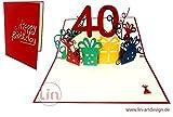 LIN POP UP 3D Grußkarte Geburtstagkarte 40. Geburtstag Frauen 40