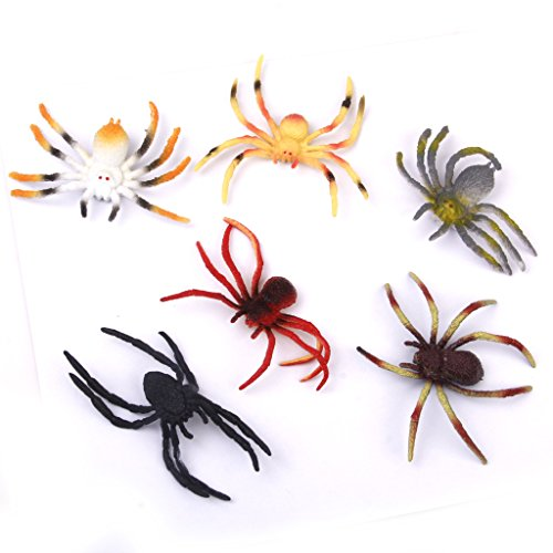 Generic Plastic PVC Spider Model Kids Toy 6pcs Multi-color