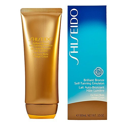 Shiseido Brilliant Bronze Self-tanning Emulsion (for Face and Body) Tanner for Unisex, 3.5 Ounce by Shiseido (English Manual)