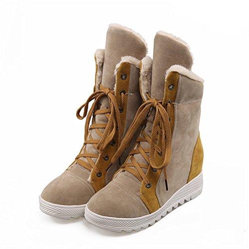 MSNZMD Damen Schnee Stiefel Herbst Und Winter Kurze Stiefel Europäischen Und Amerikanischen Mode Casual Damen Stiefel, Camel, 39