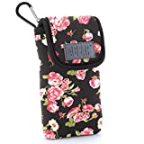 Soft Sunglasses and Eye Glasses Case Scratch Resistant Protective Pouch with Travel Belt Loop and Carabiner Clip by USA GEAR - Works with Ray Ban & Most Brands of Glasses - Floral