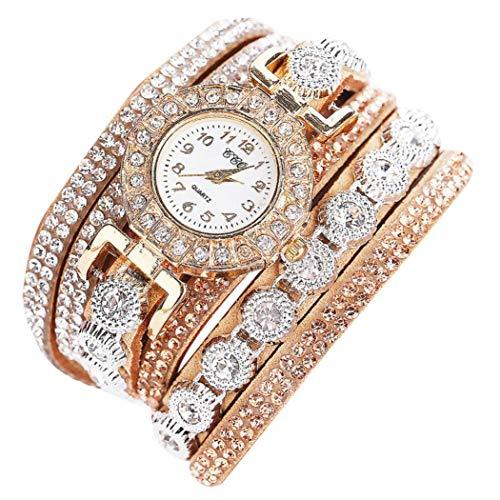 WINWINTOM Las mujeres de cuero del Rhinestone de cuarzo analógico relojes de pulsera