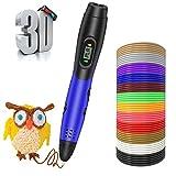 Smiler+ Penna 3D con ricariche per filamenti PLA, Nuova stampa 3D Disegno Stampa Penna stampante Display LCD con 12 colori 120 piedi Ricarica PLA per bambini Adulti Artigianato artistico Modello DIY