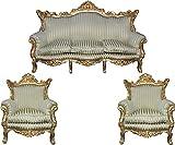 Casa Padrino Barock Wohnzimmer Set Master Jadegrün/Beige / Gold Mod2 - 3-er Sofa + 2 Sessel