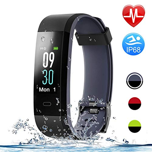 HolyHigh Smart Bands, 115C Fitness Watch IPX68 Waterproof Colorful Screen Heart Rate Sleep Monitor Pedometers Calorie Counter Call Messages Alarm Reminder Reject Call for Men Women (Gray+Black)