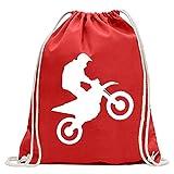 Kiwistar Motocross Divertente Zaino Sportivo per Il Fitness. Gymbag per Lo Shopping in Cotone con Coulisse