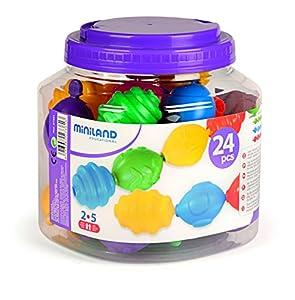 Miniland_Educational- Maxichain Cuentas Gigantes, 12 Piezas, Colores básicos (154209)