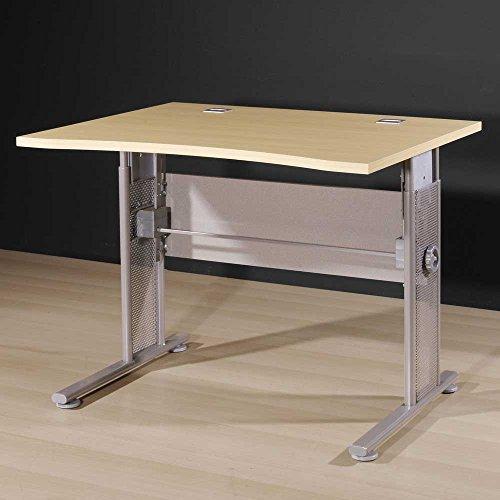 Ahorn Stahl Schreibtisch (Höhenverstellbarer Schreibtisch in Ahorn Dekor 100 cm breit Pharao24)