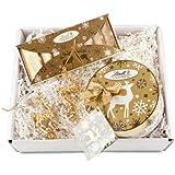 Geschenk Set 2 Rentier-Anhänger und Lindt Schokolade Goldstücke (1 x 270 g)