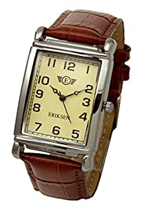 Eriksen Men's Rectangular Analog Quartz Dress Watch with Leather Strap MCS