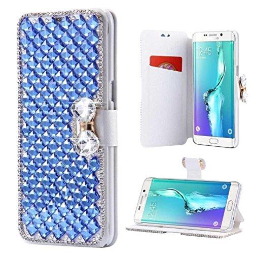 Galaxy Note 5Schmetterling Wallet case-auroralove Luxus Glänzend Big Strass Schleife weich Pu-Leder Seide Print Card Slot Fall für Samsung Galaxy Note 5 iPhone 8 blau