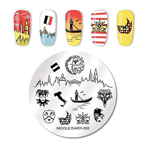NICOLE DIARY Plaques pour tampons en acier inoxydable Masque de château en acier inoxydable Rond Nail Art Stamp Image Plate 055
