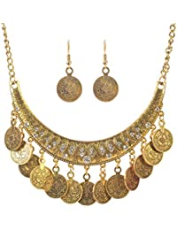 Vintage Antique Coins Gold Plated Pendant Necklace & Drop Earrings Party,Marriage For Women Girls By FFIME