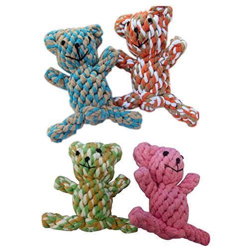 Cute Braided Knotted Bear Rope Toys for Pet Dog Puppy Cat Chew Toy Random Color