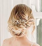 Añada preciosas flores a sus trenzas.Las preciosas flores y perlas, así como los delicados alambres con difuminado de diamantes de imitación transparentes, crean una sutil acentuación femenina para su peinado de novia.¡Esta bonita peineta es ...