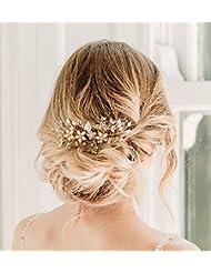 SWEETV Roségold Haarkämme Hochzeit Perle Handgefertigt Haarnadeln Kristall Haarschmuck