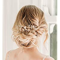 Sweetv - Peineta floral con diamantes de imitación, hecha a mano, para novias
