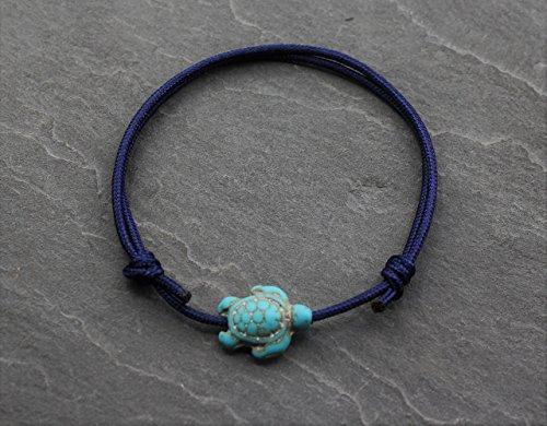 Fußkette Fußschmuck Fußkettchen Fußbändchen Schwarz Dunkel Blau Türkis Schildkröte Surfer Handmade Schmuck