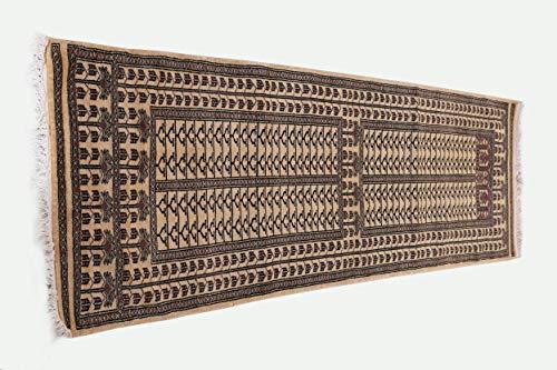 Pink City Souvenirs Handgeknüpfter indischer traditioneller Läufer Teppich 2.5X 8 Fuß (75x240 cm) Weißes Wolle Parda Design ...