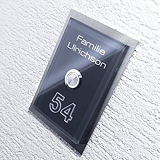 Metzler-Trade® Edelstahl Türklingel - Material-Mix massiver V2A-Edelstahl - effektolle 3D Gravur - inkl. Beschriftung von Name und Hausnummer - LED beleuchteter Klingeltaster - Maße: 160 x 110 mm