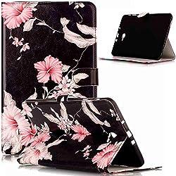 Funda Galaxy Tab A 10.1,Patrón flores mármol colores Cuero PU Fundas Carcasa Delgado Billetera Cartera Flip Stand con Concha Interna Suave Carcasa Case Cover para Galaxy Tab A 10.1t580/585,Rododendro