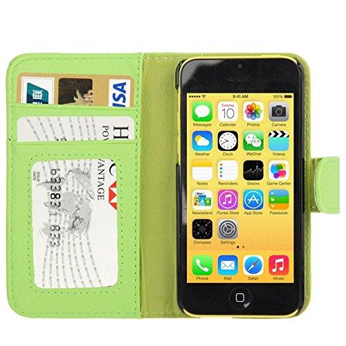 Wkae Case Cover Litchi Textur Ledertasche mit Kreditkartensteckplätze für iPhone 5C ( Color : Green ) Green