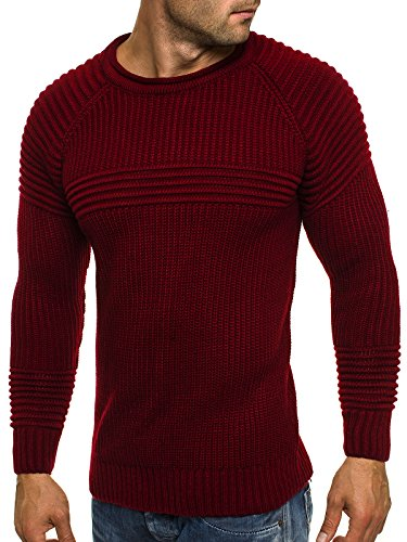 OZONEE Herren Strickjacke Pullover Strickpullover Sweats Strick MADMEXT 1561 Weinrot_MAD-1561