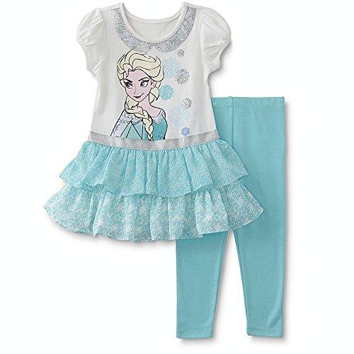 Entzückendes Disney Frozen Elsa Tunika mit Rüschen inkl. Legging Gr. 86,92,98,104 Größe 98