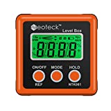 Digital Angle Finder, Neoteck LCD Digital Angle Gauge Waterproof Protractor Inclinometer Bevel Box for Helicopter/Bevel Angle of Miter Saw/Automobile Test and Repair and ect- Orange