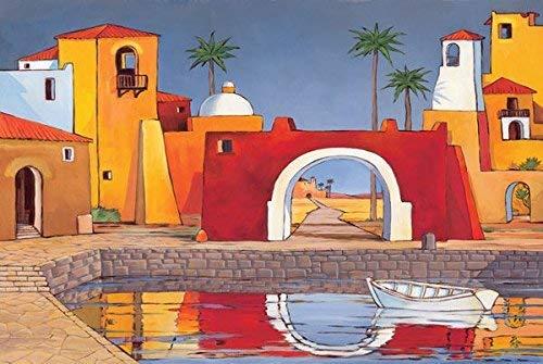 Rahmen-Kunst Keilrahmen-Bild - Paul Brent: Puerto Del Mar II Leinwandbild Küste Häuser Hafen Bunt (80x120)