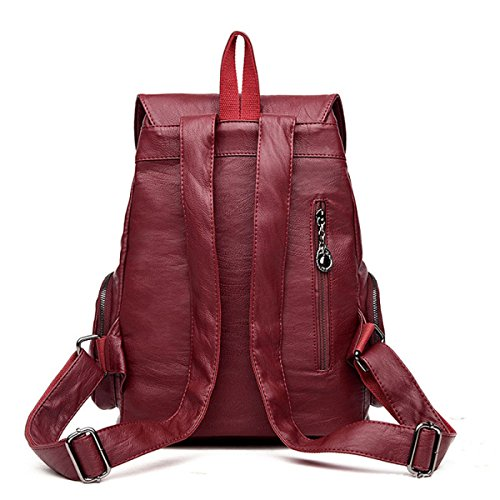 Donne Moda Vintage PU Leather School College Bookback Daypack Purple