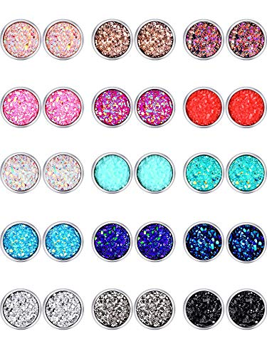 Boao 15 Paar Faux Druzy Ohrstecker Ohrringe Set Edelstahl Runde Ohrringe Ohrstecker Schmuck für Damen Mädchen (Farbe Set 1, 10 mm)