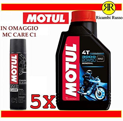 Olio motore moto Motul 3000 20w50 minerale litri 5 + OMAGGIO MC Care C1 Chain Clean