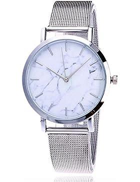 Sunnywill Damen Casual Quartz Edelstahl Band Marble Strap Armbanduhr Analog Armbanduhr (Silver)