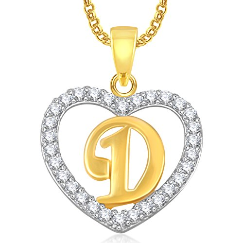 Meenaz Gold Plated 'D' Letter Alphabet Heart Pendant Locket With Chain In American Diamond Cz Jewellery
