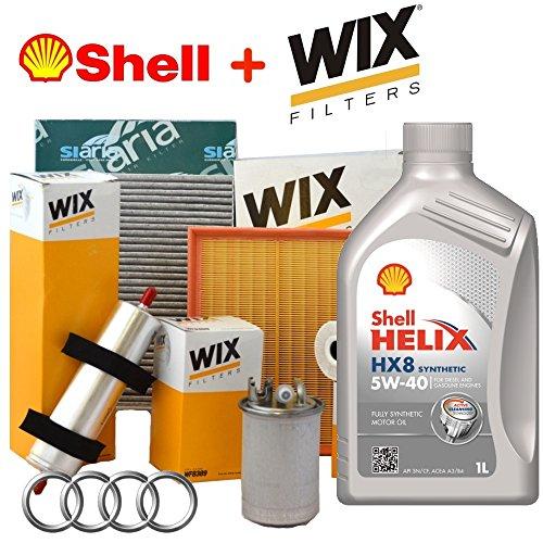 Tagliando oil Shell Helix Kit 5 W40 5lt 4 Wix filters (wl7008, wf8046, wa6726, V3228)