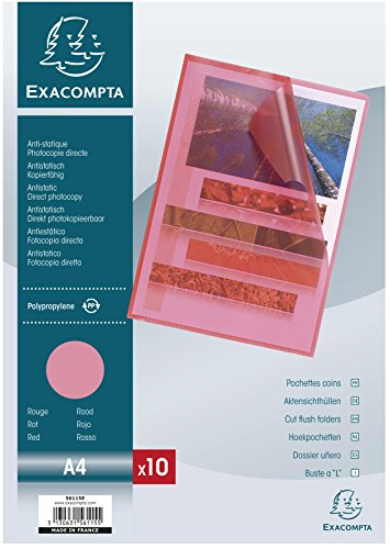 Exacompta 56115E - Bolsa de 10 dossiers, A4, color rojo