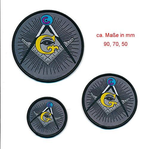 3er Set Masonic Mason Winkel und Zirkel Freimaurer Patch Aufbügler Aufnäher 0804