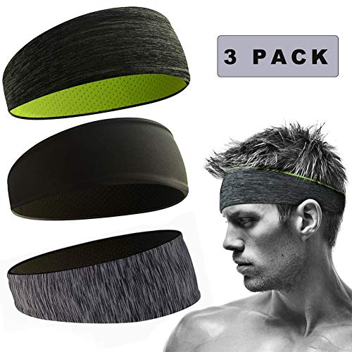 Sunshine smile Stirnbänder Feuchtigkeitstransport Athletisch,Sports Stirnband Einstellbare,Moisture Wicking Stirnband,Herren Stirnband dünn,Schweißband für Herren Damen (3er Pack)